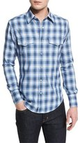 Tom Ford Western-Style Check Sport Shirt, Blue