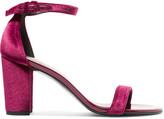 Stuart Weitzman Nearlynude Patent-leather Trimmed Velvet Sandals - Claret
