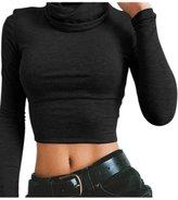 Lettre d'amour Women High Neck Long Sleeve Crop Top Bodycon T Shirt Blouses Tops M