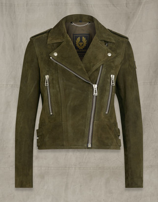 Belstaff MARVINGT SUEDE JACKET Green UK 8 /
