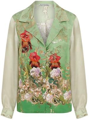 Kith & Kin Silk floral Shirt with satine arms