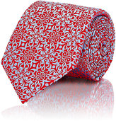 Barneys New York MEN'S FLORAL-DIAMOND-PATTERN NECKTIE-RED