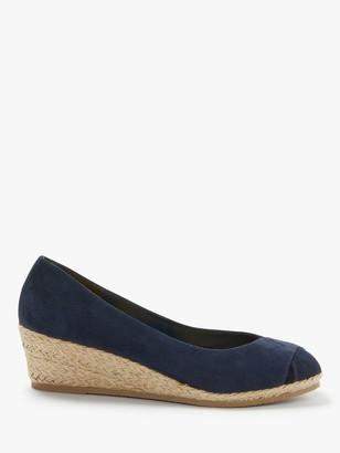 John Lewis & Partners Kallie Leather Wedge Heel Sandals, Navy