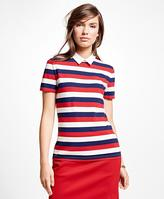 Brooks Brothers Short-Sleeve Stripe Cotton Pique Knit