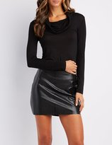 Charlotte Russe Cowl Neck Fitted Top