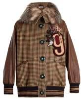 Miu Miu Hound's-tooth fur-trimmed embellished wool jacket
