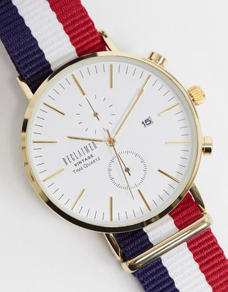 Reclaimed Vintage inspired canvas watch in stripe