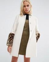 Helene Berman Faux Fur Cuff Coat In Cream With Jaguar Print Fur