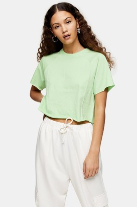 Topshop Womens Apple Green Raglan Crop T-Shirt - Apple