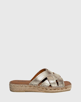 Wittner - Women's Silver Sandals - Usko Leather Stitched Espadrille Slides - Size One Size, 37 at The Iconic