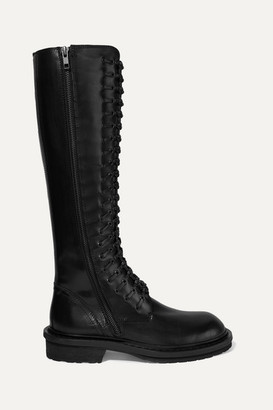 Ann Demeulemeester Lace-up Leather Knee Boots - Black