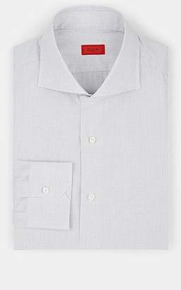 Isaia Men's Grid Checked Cotton Poplin Dress Shirt - Gray