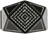 Chanel CC Plastic Black Resin Crystal Geometric Hinge Cuff Bracelet