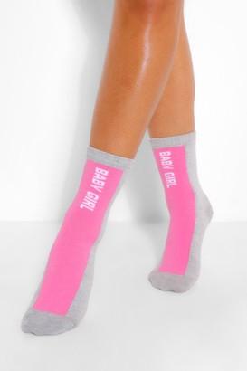 boohoo Babygirl Slogan Stripe Sports Sock