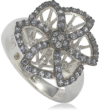 Suzy Levian Sterling Silver Sapphire Brown Diamond Flower Ring - 0.02 ctw