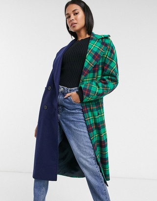 Helene Berman double-breasted contrast check coat in navy & green