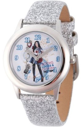 Disney Descendants 2 Evie Tween Girls' Stainless Steel Watch, Silver Glitter Leather Strap