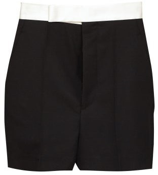 Haider Ackermann Silk-satin Waistband Wool Tuxedo Shorts - Black White