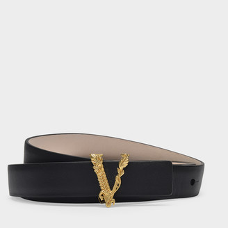 Versace Virtus Buckle Belt In Black Leather