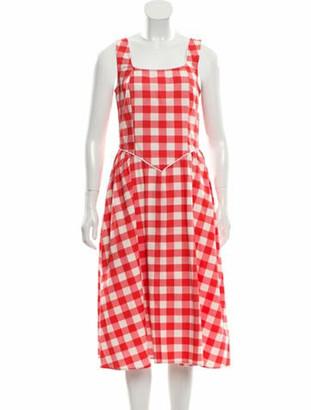 Batsheva Plaid Print Midi Length Dress Red