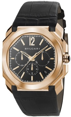 Bvlgari Octo 18K Rose Gold & Black Alligator Strap Watch