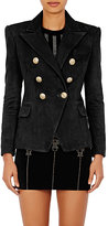 Balmain Women's Leather Double-Breasted Blazer-BLACK