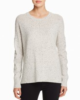Aqua Cashmere Front Seam Drop Shoulder Cashmere Sweater