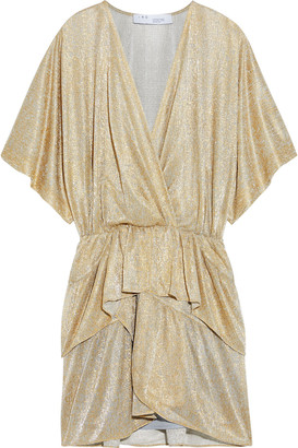 IRO Wide Wrap-effect Metallic Mesh Peplum Mini Dress