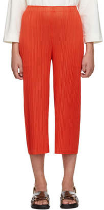 Pleats Please Issey Miyake Online Exclusive Red Pleated Wide-Leg Trousers