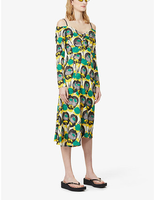 Sportmax Floral-print sleeveless stretch-twill midi dress