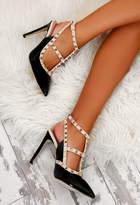 Pink Boutique Innocent Black Patent Studded Stiletto Heels