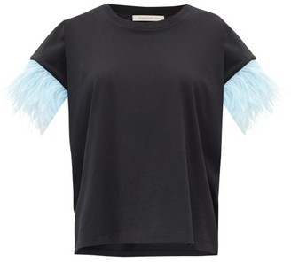 Christopher Kane Feather-trimmed Jersey T-shirt - Womens - Black Blue