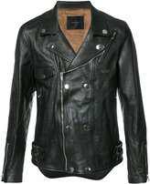 Undercover fitted biker jacket - men - Lamb Skin/Cupro - 2