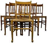 One Kings Lane Vintage Rush-Seat Dining Chairs - Set of 6 - brown