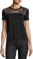 RED Valentino Short-Sleeve Tee w/ Point d'Esprit Yoke & Embroidered Ladybugs, Nero