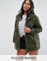 Brave Soul Plus Camo Jacket With Embroidery