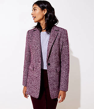 LOFT Petite Tweed Long Modern Blazer
