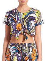Emilio Pucci Grasshopper Printed Tie-Front Cotton Top