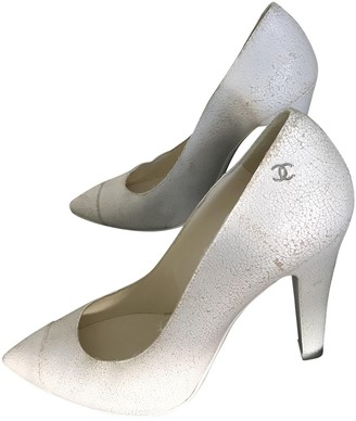 Chanel White Leather Heels