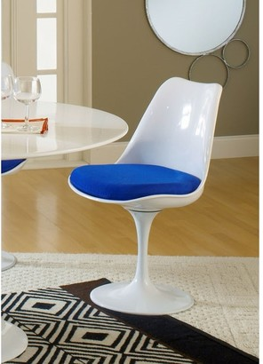 Bsd National Supplies Deland Tulip Style Swivel Dining Chair with Blue Cushioned Seat