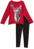 Beary Basics Silver & Red Deer Long-Sleeve Tee & Leggings - Toddler & Girls