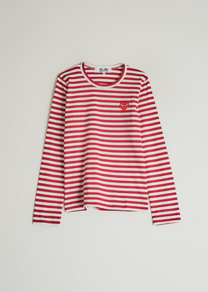 Comme des Garcons Women's Play Striped Long Sleeve T-Shirt in Red, Size Extra Small | 100% Cotton