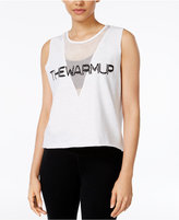 Jessica Simpson The Warm Up Mesh-Inset Logo Graphic Tank Top, Only at Macy's