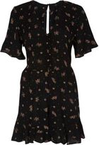 River Island Womens Black ditsy floral frill sleeve playsuit