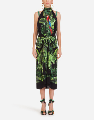 Dolce & Gabbana Longuette Dress In Charmeuse With Parrot And Leaf Print