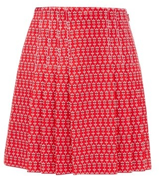 Gucci Pleated Floral-jacquard Cotton-blend Skirt - Red Multi