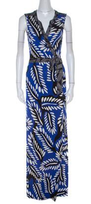 Diane von Furstenberg Blue Printed Silk Jersey Orchid Maxi Wrap Dress M