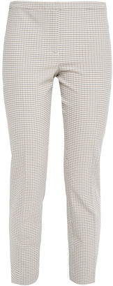 Theory Cropped Checked Stretch-crepe Slim-leg Pants