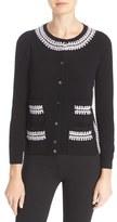 Tory Burch 'Avery' Crochet Trim Wool Blend Cardigan