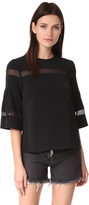 DKNY Short Sleeve Top with Mesh Insert